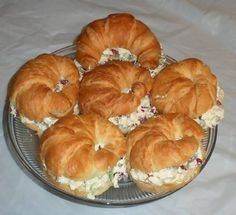 Chicken Salad sandwiches...I pretty much make these for every party I have...except with mini croissants so they are adorable :)