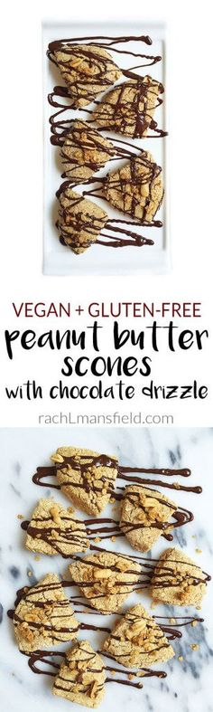 Vegan Peanut Buttery Scones with Chocolate Drizzle. An easy and healthy scone recipe for anyone to make, made with simple and clean ingredients. Gluten Free Peanut Butter, Peanut Butter Recipes, Vegan Gluten Free, Gluten Free Recipes, Vegan Recipes, Reese's Recipes, Paleo, Dairy Free, Recipies