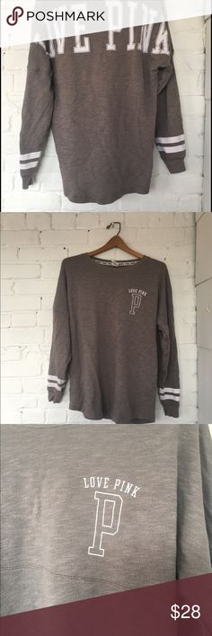 Victoria's Secret Pink grey shirt VS Pink marled grey long sleeve top / great condition / sz S / super comfortable / logo on front and back / stripes near sleeves PINK Victoria's Secret Tops Sweatshirts & Hoodies