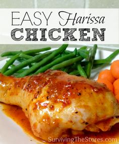 This is a super easy recipe for Harissa Chicken! SO GOOD!!