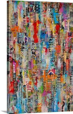 Erin Ashley Premium Thick-Wrap Canvas Wall Art Print entitled Metromix 22 None Paper Collage Art, Collage Art Mixed Media, Mixed Media Canvas, Art Pop, Painting Prints, Wall Art Prints, Framed Prints, Canvas Prints, Art En Ligne