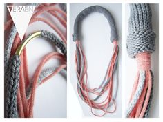 Ketten mittellang - STRICKKETTE / TUBE GREY LACHS - ein Designerstück von VERAEN bei DaWanda