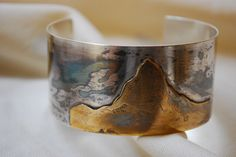 """""""The Matterhorn"""" Drip-Patinated Sterling Mountain Cuff Bracelet by Wild Child Jewelry Designs"""