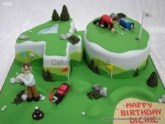 Number 40 Fun Golfing Cake Time to Tee off. Golf Birthday Cakes, Birthday Cakes For Women, 60th Birthday Party, Cakes For Men, Golf Cakes, 40th Cake, Dad Cake, Golf Course Cake, Themed Cupcakes