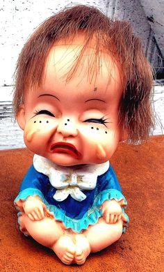 Vintage Antique Estate Rubber Doll Crying Sad Ugly by MADVintology