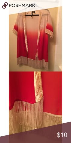 Sheer Ombré Cardigan Blush pink to deep red ombré cardigan with off white fringe along the bottom and crushed velvet along sleeves and lapels. Perfect for spring outfits and music festivals! Never worn. Size Medium. Petticoat Alley Other