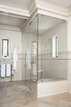 marble and white subway tile shower - Google Search
