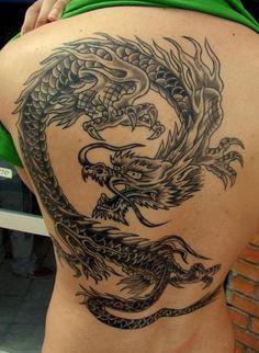 Grey Ink Dragon Tattoo Design On Back #132 - http://tattoosaddict.com/grey-ink-dragon-tattoo-design-on-back-132.html #, #132, #Back, #Design, #Dragon, #DragonTattoo, #DragonTattoos, #Grey, #Ink, #On, #Tattoo
