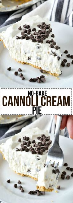 An easy and delicious recipe for lusciousNo-Bake Cannoli Cream Piefilled with cream cheese, ricotta cheese and mini chocolate chips.