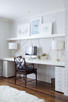 Lounge Style Decor In Home Office - Via The Curated House #homeofficeideaspretty
