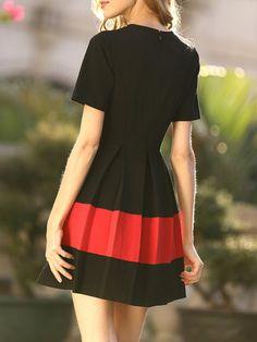 Black Crew Neck Casual Folds Mini Dress