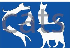 Cats Silhouette Cutting Files school Clipart party by BananaCloud