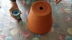 Pour onto terracotta pot with iridescent medium added