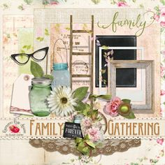 Raspberry Road Designs Family Gathering Mini Kit - A family themed mini kit designed to coordinate with the Family Gathering collection. Digital Scrapbooking Freebies, Beautiful Family, Raspberry, Card Making, Kit, Table Decorations, Digital Art, Layout, Design