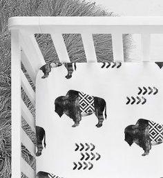 Tribal Buffalo, Aztec Crib sheet, Tribal nursery