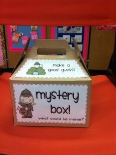 Cute way to use my mystery box... put something in it, the kids have to touch it and describe it without looking....adjectives