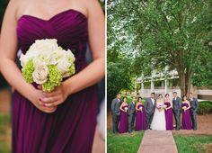 Purple bridesmaids dresses & details