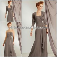Strapless with Jacket Chiffon silver grey mother of the bride dress-in Mother of the Bride Dresses from Apparel & Accessories on Aliexpress.com