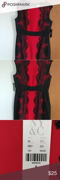 Beautiful Red and Black Dress Beautiful NWT Red and Black dress. Perfect for the Holidays and weddings! Measurements: Length:37 1/2in. Chest:18in New York & Company Dresses Midi