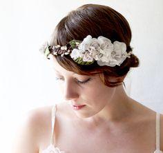 Wedding crown Bridal hair band Woodland flower head by whichgoose, $80.00