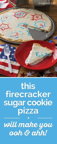 A Brilliant Firecracker Sugar Cookie Pizza Recipe - thegoodstuff Pizza Recipes, Cookie Recipes, Dessert Recipes, Cupcake Cookies, Sugar Cookies, Cupcakes, Delicious Desserts, Yummy Food, Sweet Desserts