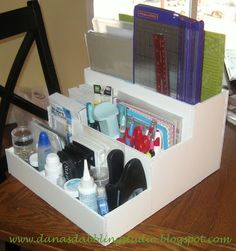 Dana's Dabbling Studio: Fun With Foam Core! Craft Paper Storage, Diy Storage, Storage Ideas, Makeup Storage, Shelf Ideas, Foam Board Crafts, Foam Crafts, Craft Foam, Craft Room Organisation