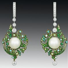 Chanel Contrastes collection: White gold, diamonds, tourmaline  pearls. ht