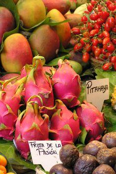 Exotic fruit at Ramblas Market, Barcelona, Spain