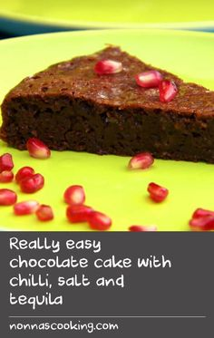 Really easy chocolate cake with chilli, salt and tequila Delicious Cake Recipes, Easy Cake Recipes, Yummy Cakes, Baking Recipes, Game Recipes, Chili Recipes, Easy Bake Cake, No Bake Cake, Tasty Chocolate Cake