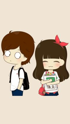 Top 5 Digital Art Wallpapers - My Wallpapers Cute Chibi Couple, Love Cartoon Couple, Cute Love Cartoons, Cute Couple Art, Anime Love Couple, Cute Cartoon, Couple Pics, Chibi Wallpaper, Kawaii Wallpaper