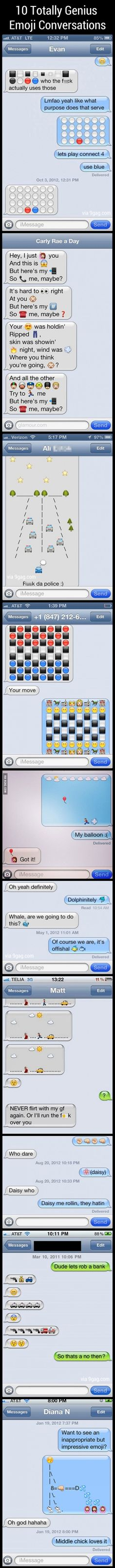 9GAG - 10 Totally Genius Emoji Conversations, man I love Emojis!!
