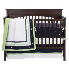Bananafish Nantucket 4 pc Crib Bedding Set in Navy and Green. Baby Bedding Sets, Crib Sets, Small Space Bedroom, Green Bedding, New Baby Boys, Nursery Design, Navy And Green, Baby Boy Nurseries, Baby Decor