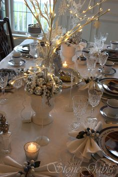Elegant Christmas Tablescapes | very loved vintage white damask tablecloth is the snowy background ...