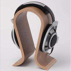 Classic Walnut Finish Wooden Headphone Headset Earphone Stand Holder Hanger Wooden Headphone Stand Holder for Earphone Headset