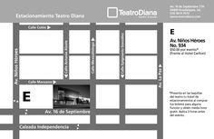 Mapa de estacionamiento del Teatro Diana - Guadalajara, Jalisco