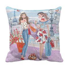 Shopping girls in Paris   Cotton Throw Pillow Custom Pillows, Decorative Throw Pillows, Paris Gifts, Paris Art, Paris Theme, Cotton Throws, Home Decor Bedroom, Home Decor Items, Accent Pillows