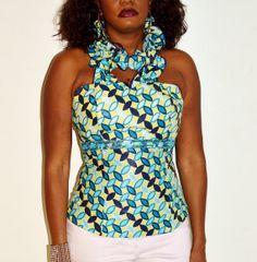 African Ankara Print Halter Top Blue Halter Blouse by ZabbaDesigns, $35.00 #Africanfashion #AfricanClothing #Africanprints #Ethnicprints #Africangirls #africanTradition #BeautifulAfricanGirls #AfricanStyle #AfricanBeads #Gele #Kente #Ankara #Nigerianfashion #Ghanaianfashion #Kenyanfashion #Burundifashion #senegalesefashion #Swahilifashion DK