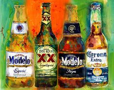 Mexican Beer Dos Equis Corona Modelo Beers Print from