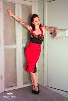 rockabilly halter top wiggle dress