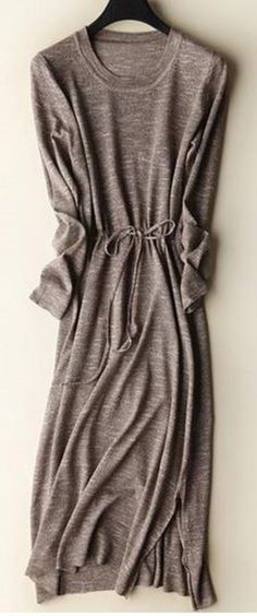 Comfy Casual Light Grey Solid Collar Long Sleeves Side Slit Sweater Dress