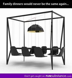 Swing seats dinning table.....if you tried swinging sure you would go back but when you go forward wouldnt you just hit the freaking table?