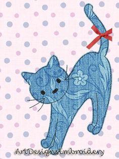 Cat Quilt Patterns, Applique Patterns, Applique Designs, Machine Embroidery Designs, Baby Applique, Baby Embroidery, Machine Applique, Fabric Cards, Applique Templates