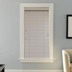 "Blinds.com Brand 2"" Deluxe Wood Blinds in Antique White. These real wood blinds are light and durable, warp resistant and easy-to-clean. Choose from a variety of modern paints and stains available at Blinds.com."
