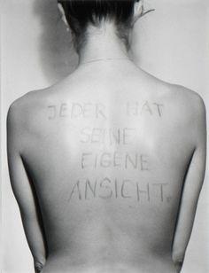 Birgit Jürgenssen, 'Jeder hat seine eigene Ansicht / Everyone has his own Point of View', 1975/2006