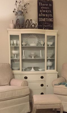 China cabinet redo  Ben Moore chalk paint -color white dove and inside color is Ben Moore's cool breeze