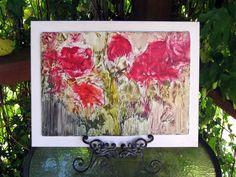 Wall Art Red POPPIES  ORIGINAL ENCAUSTIC painting  by StudioSabine, $175.00