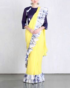 Check out our Yellow Frill Saree by KA SHA available at Ogaan Online store at special price. Clamp dyeing, dip-dyeing and tassel details lend this collection a bohemian vibe Cotton Saree Designs, Blouse Designs, Indian Attire, Indian Outfits, Modern Sari, Sari Design, Simple Sarees, Stylish Dresses For Girls, Stylish Sarees