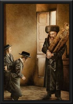 Torah Scroll painting - This beautifully crafted oil painting tells the story of a jewish father holding a Torah scroll in front of his children. It actually depicts a traditional ceremony in the jewish holiday called Simchat Torah.
