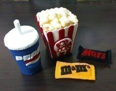 Felt Food movie food. Popcorn, m&ms, cup of soda