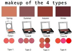 www.colormeaseason.com  www.illuminessensce.com  https://dyt.liveyourtruth.com/store/type4/type-4-makeup/t4-cheeks makeup for the 4 types sold by the related style systems are similar. blush sold by bernice kentner color me a season store top row, taylore b sinclaire illuminessensce middle, carol tuttle #dyt bottom. coral blushes for spring/ #type1, mauve for summer/ #type2, russet for autumn/ #type3, red for winter/ #type4. find more options at www.temptalia.com/swatch-gallery?type=160=Sort